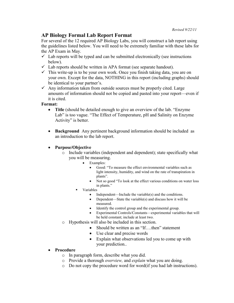 Ap Biology Formal Lab Report Format Pertaining To Formal Lab Report Template