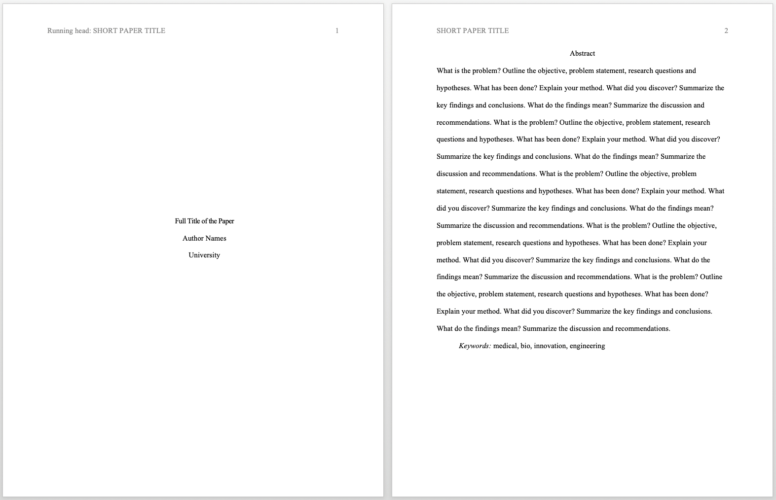 Apa Format Guidelines For Academic Papers And Essays [Template] Within Scientific Paper Template Word 2010