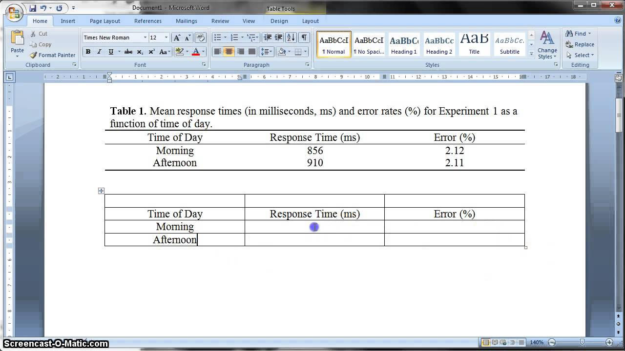 Apa Formatted Table In Ms Word 2010 For Apa Table Template Word