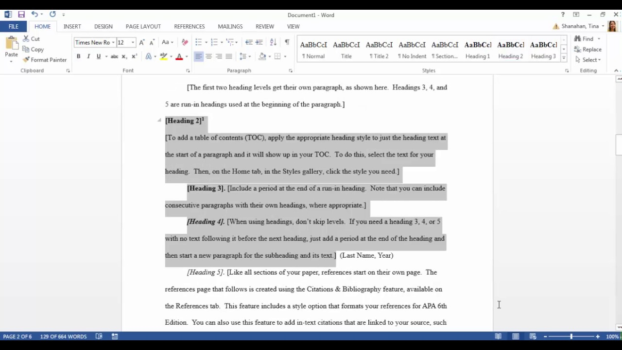 Apa Template In Microsoft Word 2016 Pertaining To Apa Format Template Word 2013