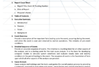 Appendix B – Event Analysis Report Template pertaining to Reliability Report Template