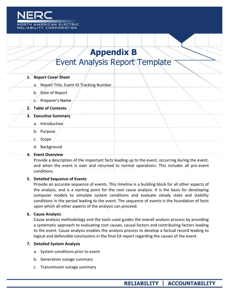 Appendix B - Event Analysis Report Template Pertaining To Reliability Report Template