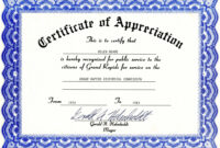 Appreciation Certificate Templates Free Download intended for Certificate Of Excellence Template Free Download