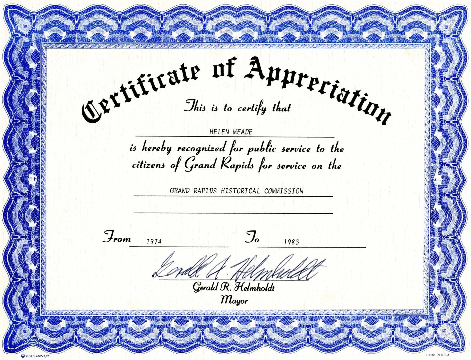 Appreciation Certificate Templates Free Download With Regard To Blank Certificate Templates Free Download