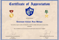 Army Certificate Of Appreciation Template for Army Certificate Of Appreciation Template