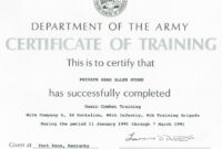 Army Certificate Of Training Template | Doyadoyasamos regarding Army Certificate Of Completion Template