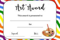 Art Award Certificate (Free Printable)   Art   Art Classroom Regarding Art Certificate Template Free