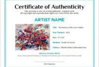 Artwork Bill Of Sale And Letter Of Authenticity | L'art In with regard to Photography Certificate Of Authenticity Template