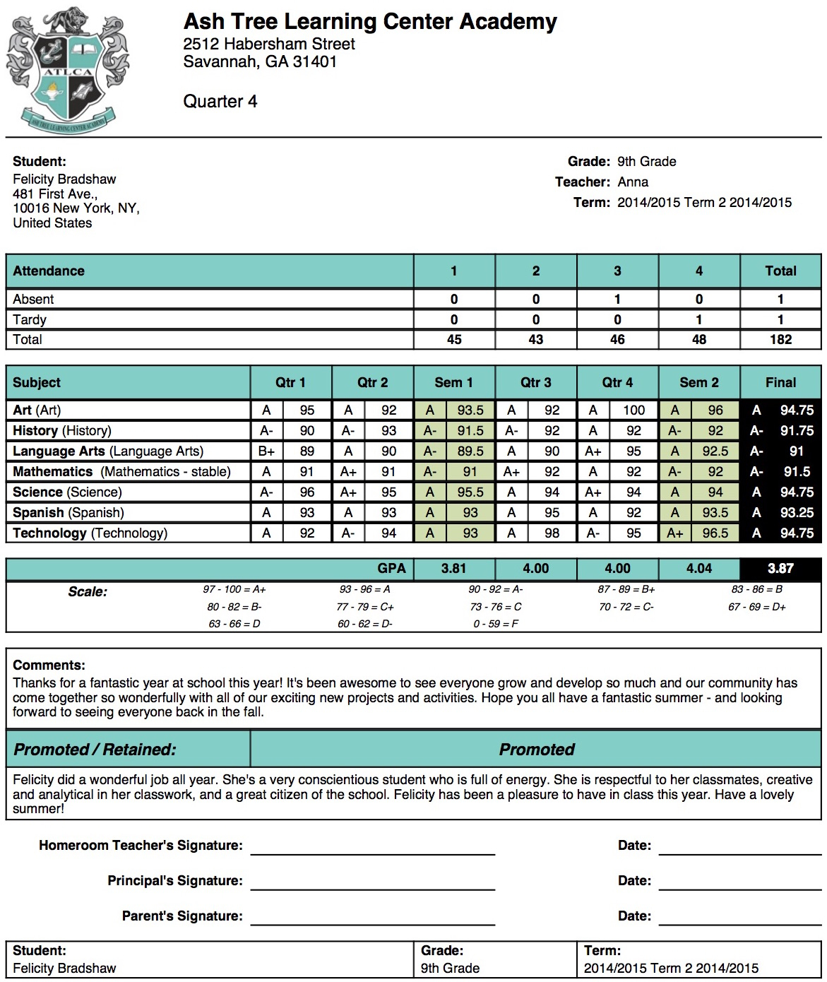 Ash Tree Learning Center Academy Report Card Template With Regard To High School Student Report Card Template