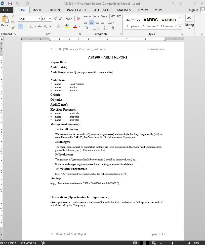 Audit Report As9100 Template | As1200 4 Pertaining To It Audit Report Template Word