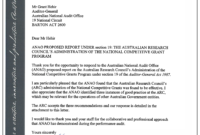 Australian Research Council's Administration Of The National with Acquittal Report Template