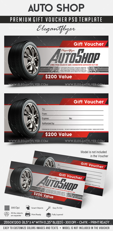 Auto Shop – Premium Gift Certificate Psd Template Regarding Automotive Gift Certificate Template