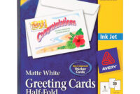 """Avery® Greeting Card – 8 1/2"""" X 5 1/2"""" – Matte – 30 / Box – White within Half Fold Greeting Card Template Word"""