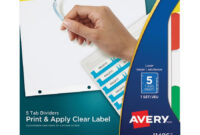 Avery® Index Maker Print & Apply Clear Label Dividers With Traditional  Color Tabs – 5 Tab(S)/set – Multicolor Divider – 5 / Set For 8 Tab Divider Template Word