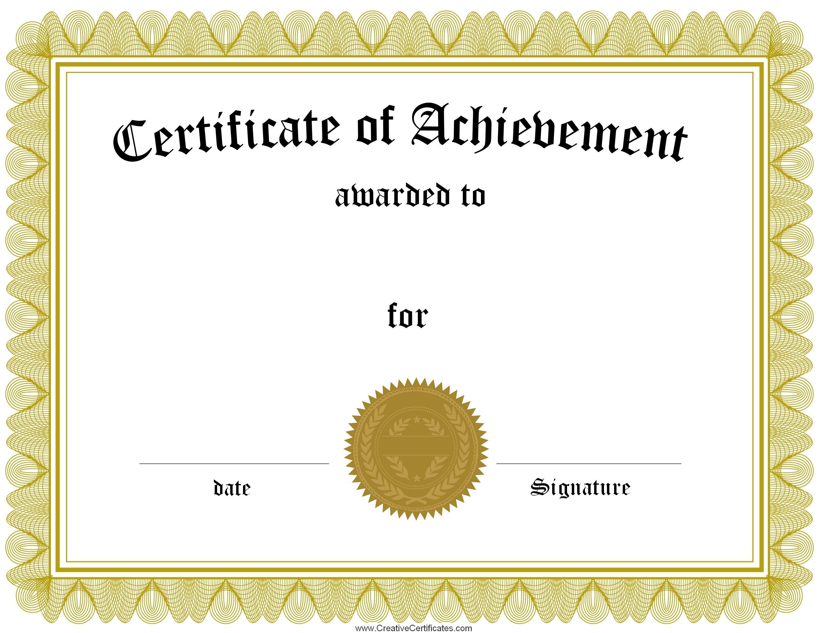 Award Certificate Template Certificate Templates Best Free Inside Blank Certificate Of Achievement Template