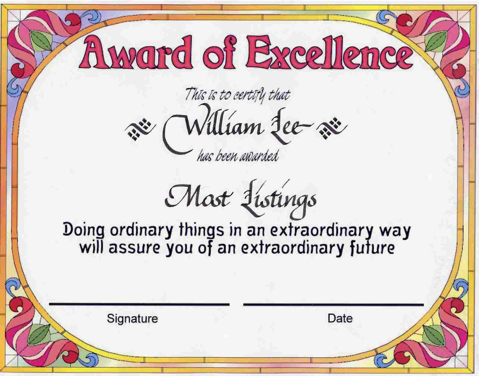 Award Certificates | Award Of Excellence Certificate Award Throughout Award Of Excellence Certificate Template