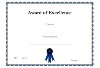 Award Template Certificate Borders | Award Of Excellenceis Throughout Award Certificate Border Template