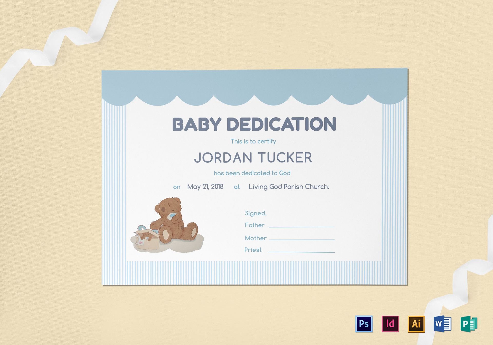 Baby Dedication Certificate Template With Baby Dedication Certificate Template