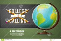 Back To College Banner Template, Globe, Chalkboard Stock pertaining to College Banner Template
