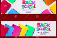 Back To School Colorful Text Banner Template With Stationary within Classroom Banner Template