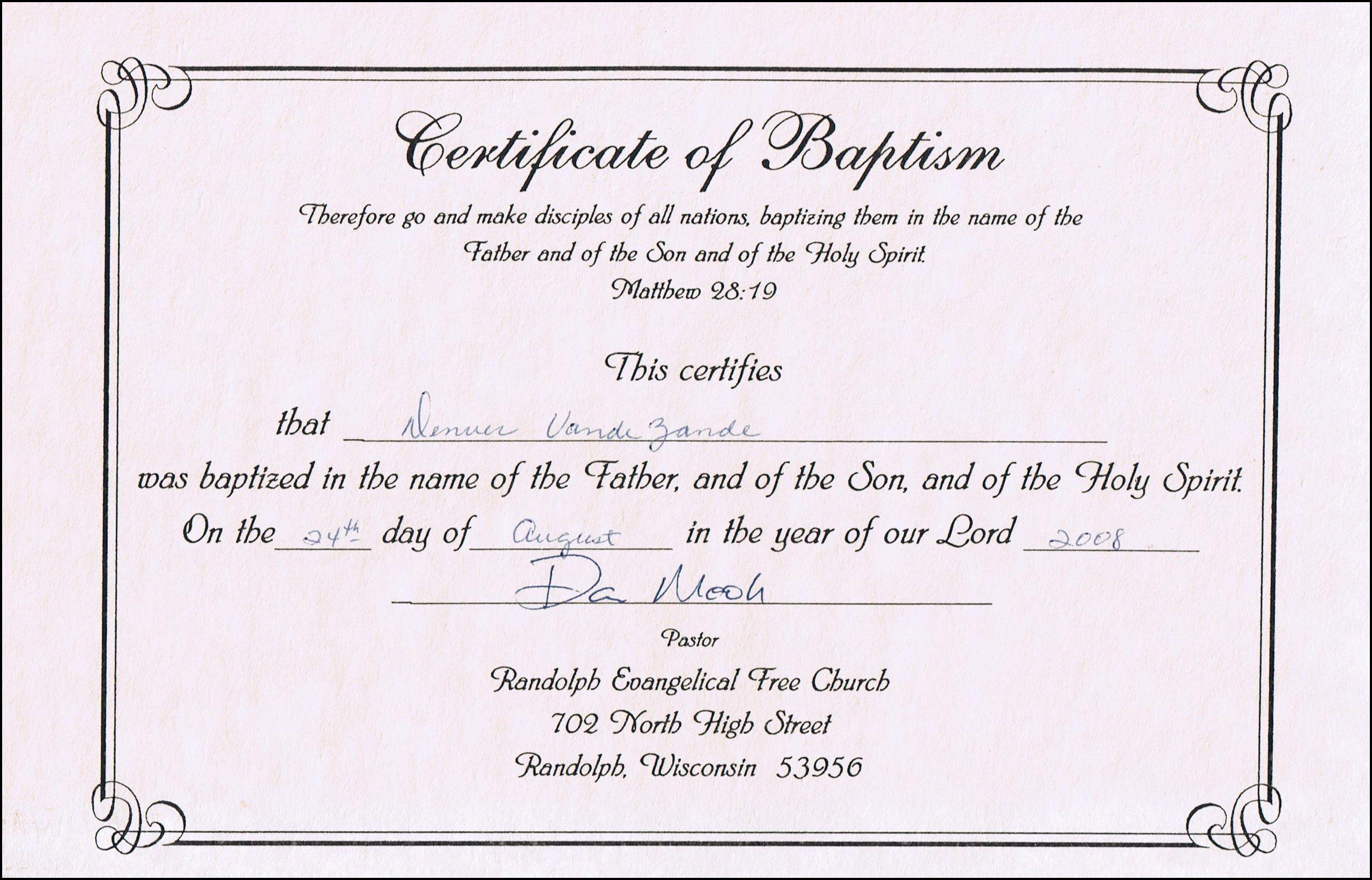 Baptism Certificates Free Online | Denver's Certificate Of Inside Baby Death Certificate Template