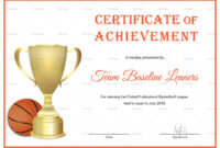 Basketball Achievement Certificate Template with Basketball Certificate Template
