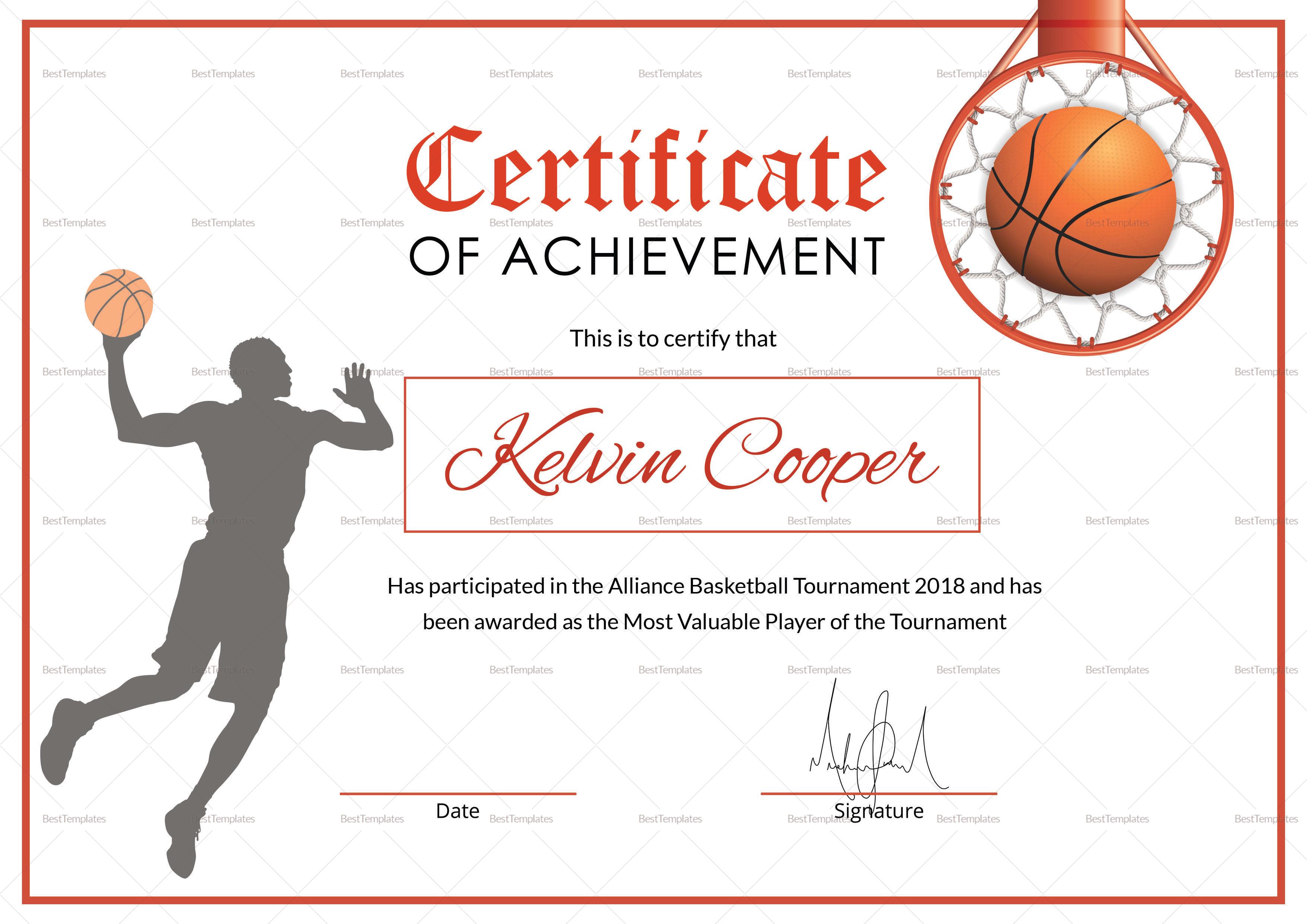 Basketball Award Achievement Certificate Template Inside Basketball Certificate Template