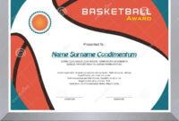 Basketball Award, Diploma Template Design Stock Vector throughout Basketball Certificate Template