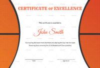 Basketball Excellence Award Certificate Template throughout Basketball Certificate Template