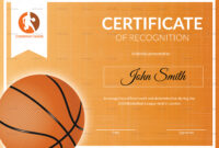 Basketball Recognition Certificate Template inside Basketball Certificate Template