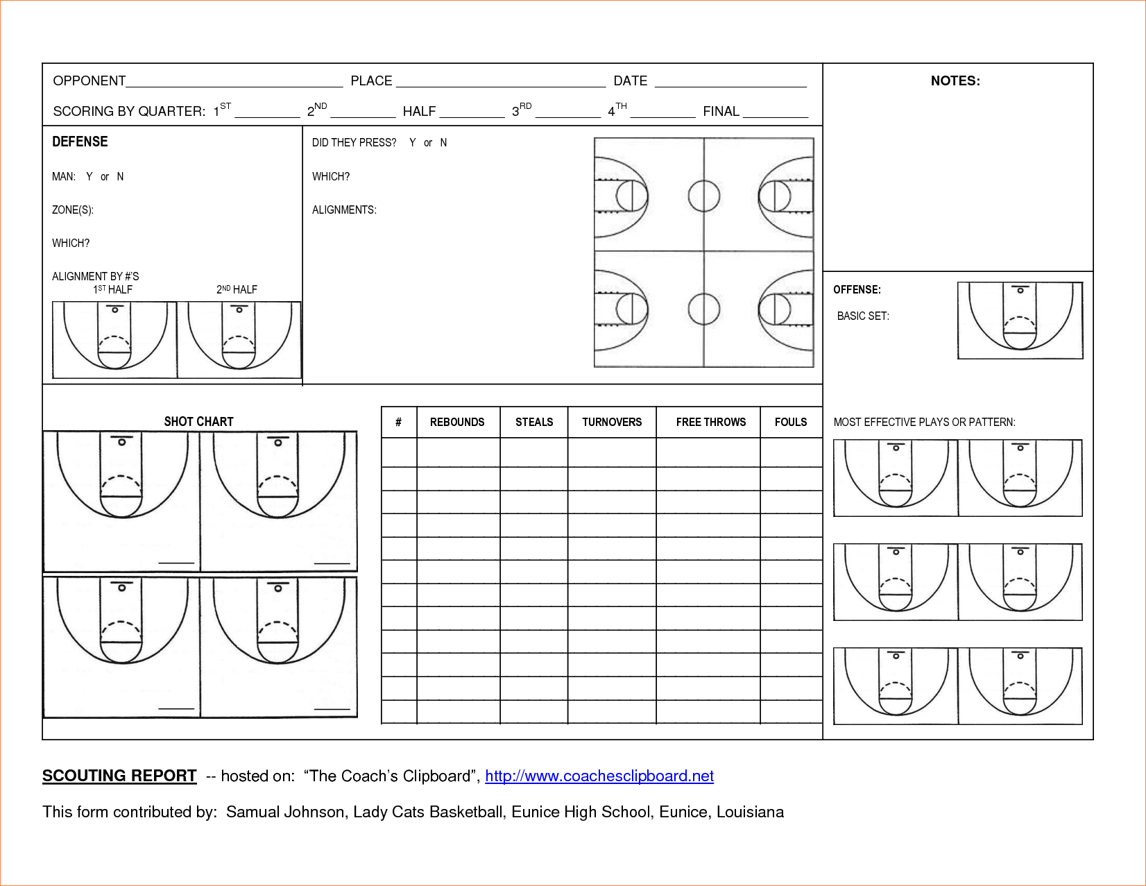 Basketball Scouting Report Template – Dltemplates Within Basketball Scouting Report Template