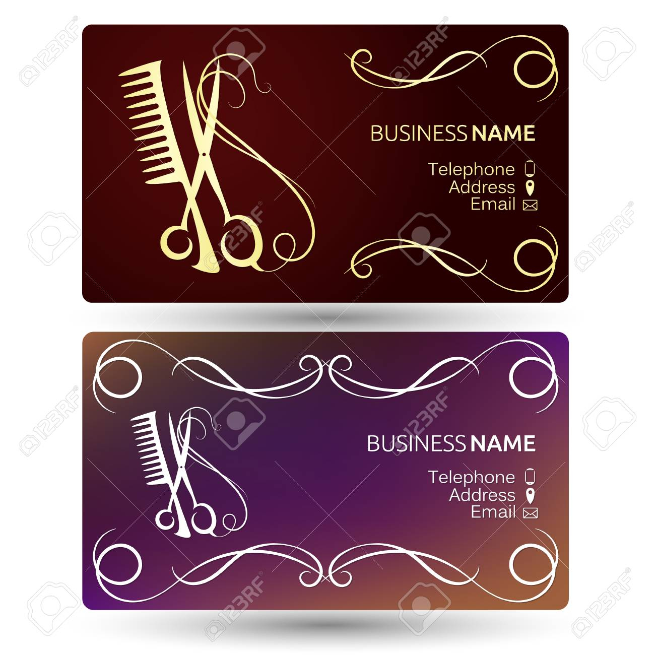 Beauty Salon And Hairdresser Business Card Template Vector Pertaining To Hairdresser Business Card Templates Free