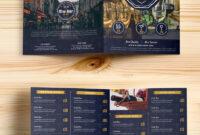 Beer And Wine Menu Bi-Fold Brochure Template Psd for Wine Brochure Template
