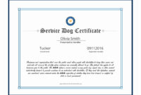 Best Ideas For Service Dog Certificate Template On Sheets throughout Service Dog Certificate Template
