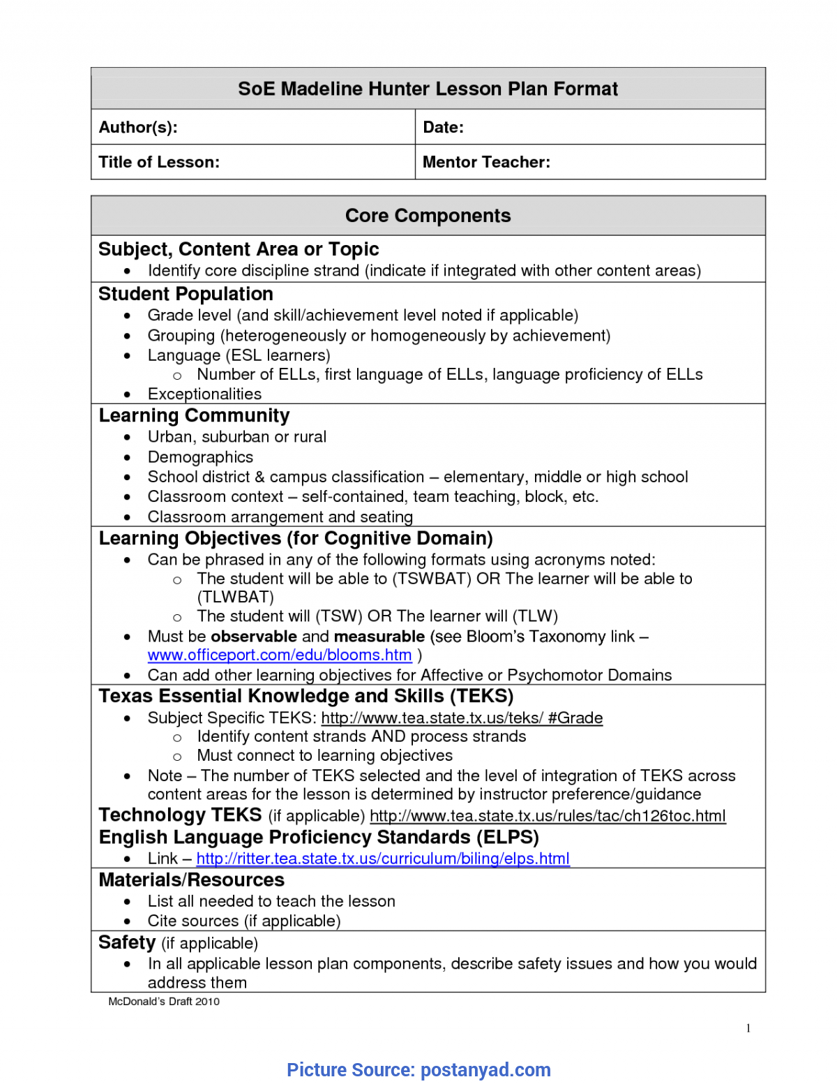 Best Madeline Hunter Lesson Plan Components Madeline Hunter Within Madeline Hunter Lesson Plan Template Word