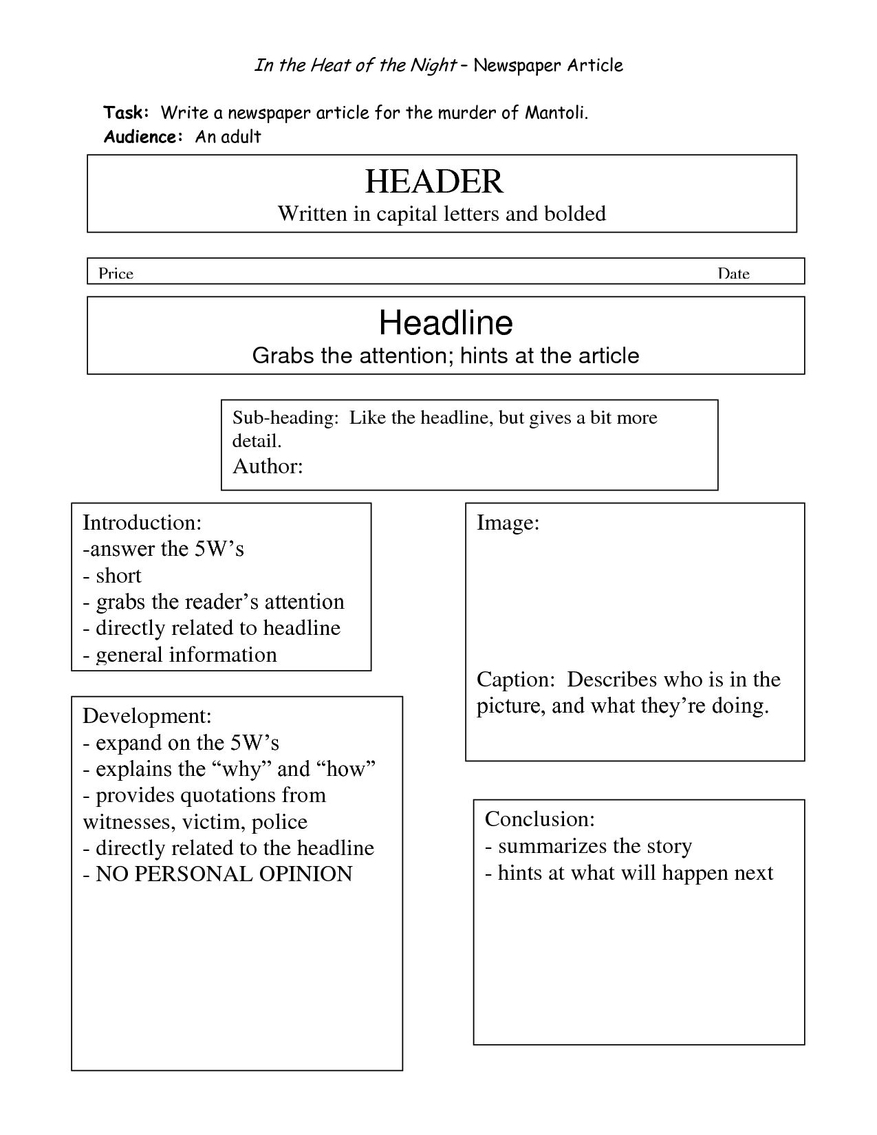 Best Photos Of Writing Newspaper Article Template Within Best Report Format Template