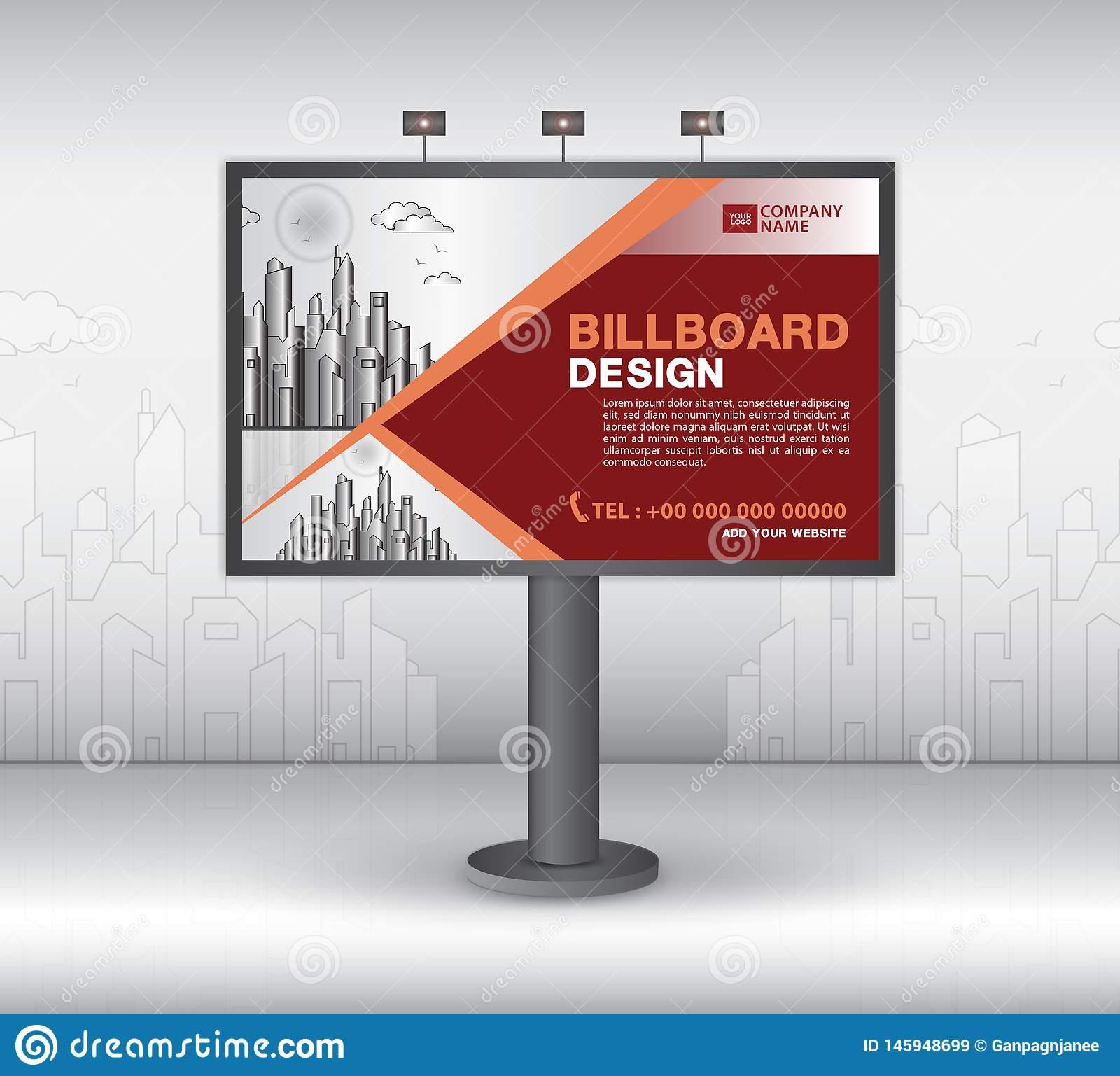 Billboard Banner Template Vector Design, Advertisement Inside Outdoor Banner Template