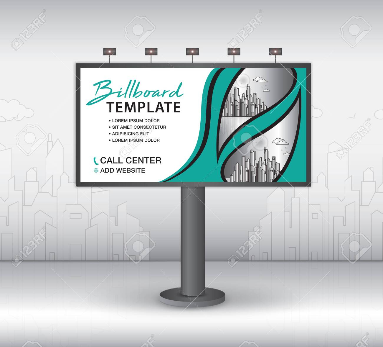 Billboard Design Vector, Banner Template, Advertisement, Realistic.. With Outdoor Banner Template