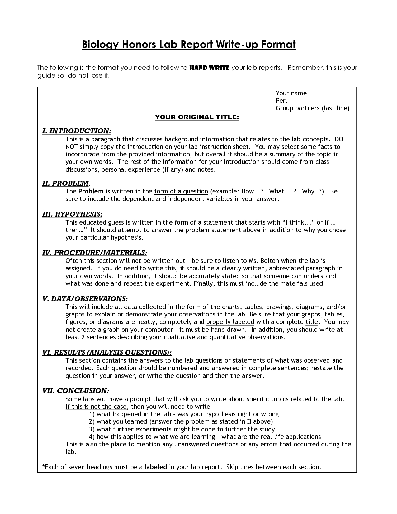 Biology Lab Report Format Example   College   Lab Report Within Lab Report Conclusion Template