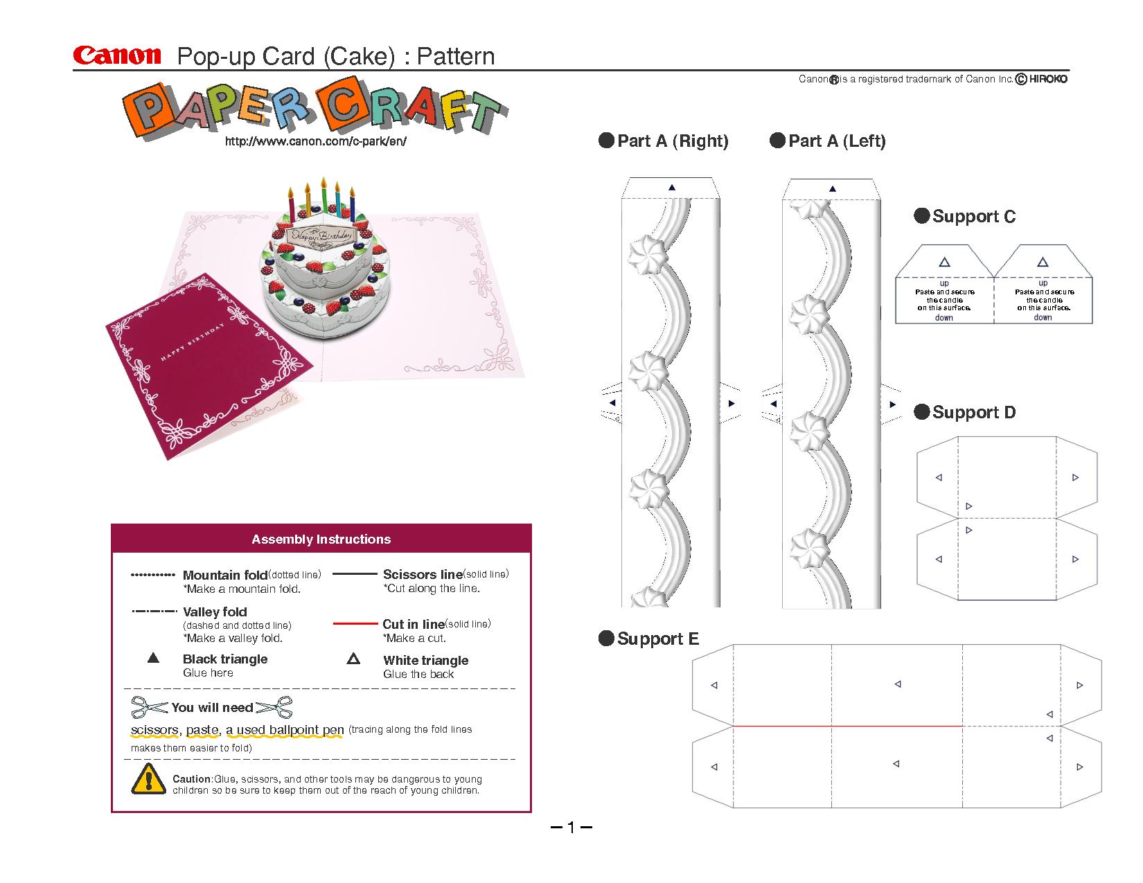 Birthday Cake Pop Up Card Template | Pop Up Card Templates In Printable Pop Up Card Templates Free