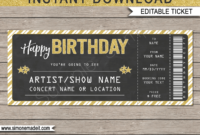 Birthday Concert Gift Ticket – Gold Glitter & Chalkboard intended for Golf Gift Certificate Template