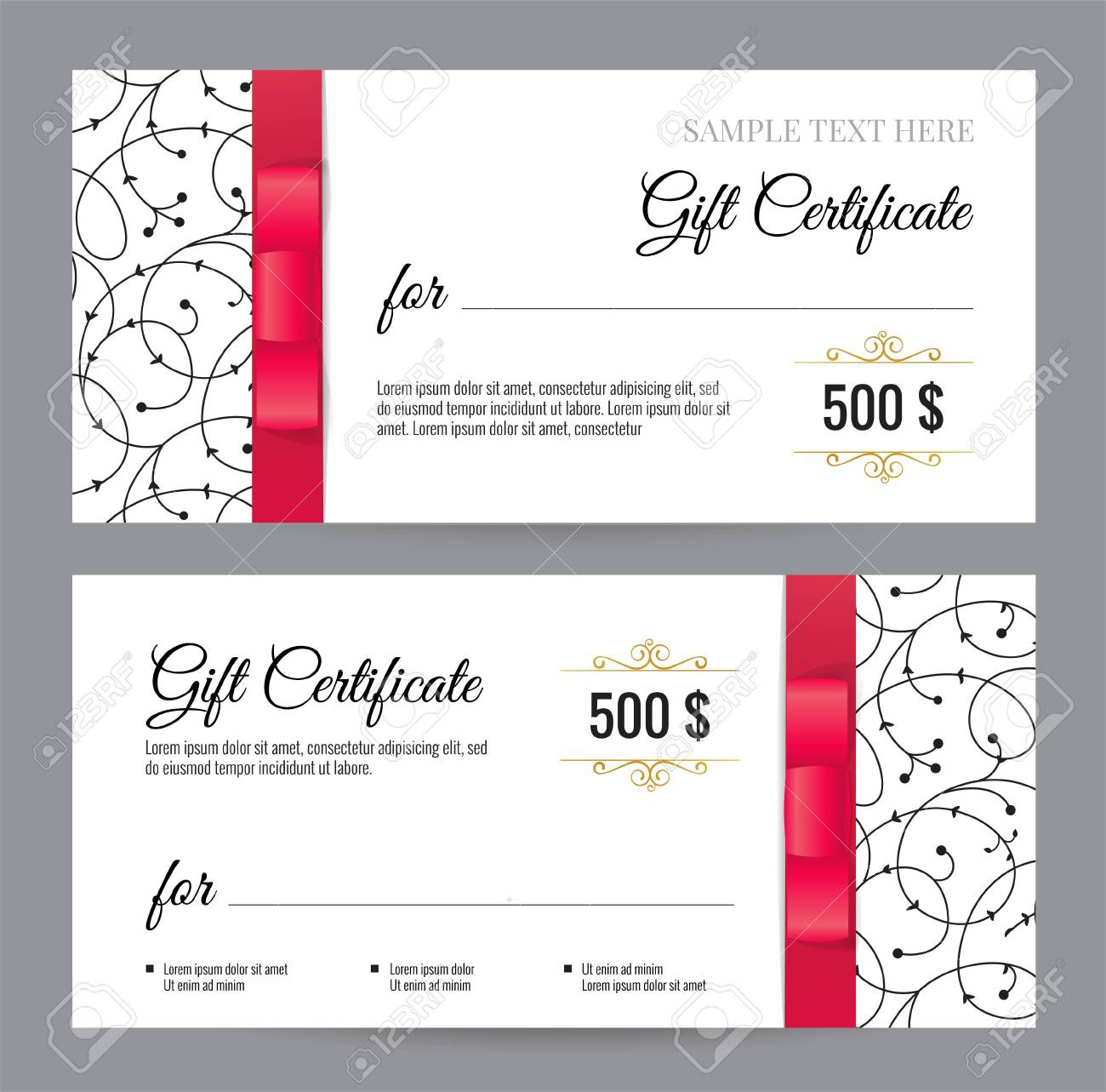 Black And White Gift Voucher Template With Floral Pattern And.. Pertaining To Black And White Gift Certificate Template Free