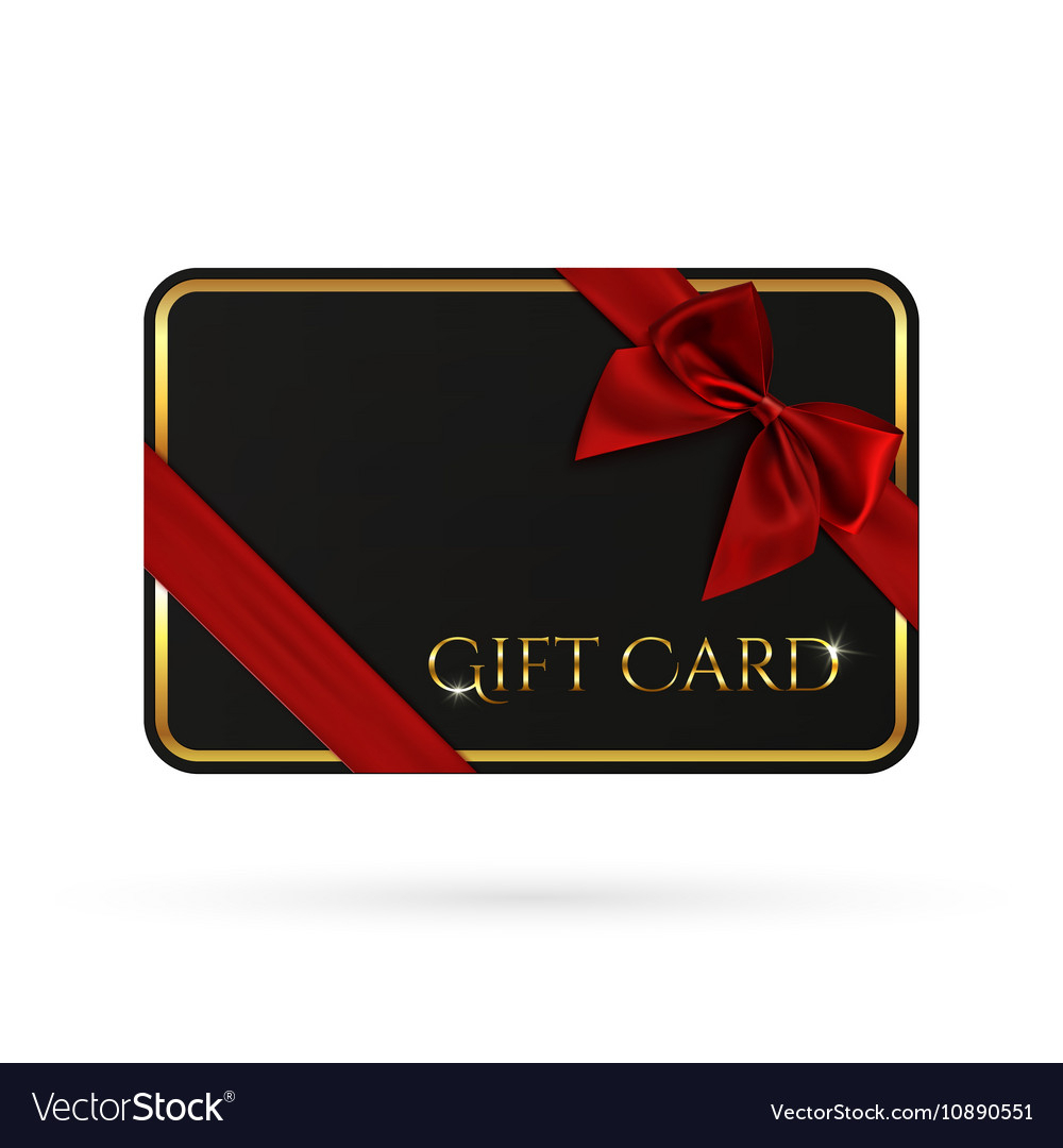 Black Gift Card Template With Red Ribbon And A Bow Pertaining To Gift Card Template Illustrator