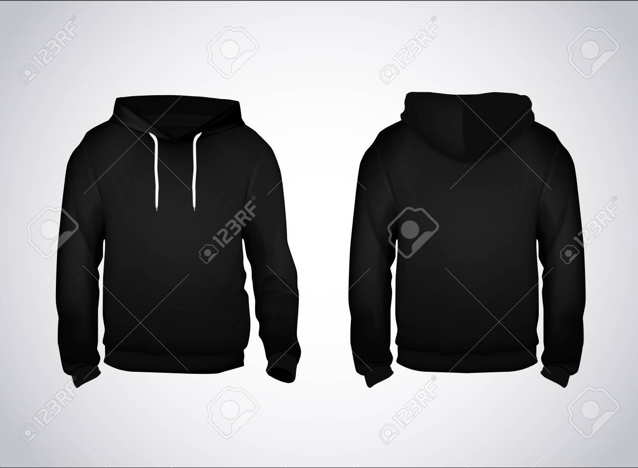 Black Men's Sweatshirt Template With Sample Text Front And Back.. Inside Blank Black Hoodie Template