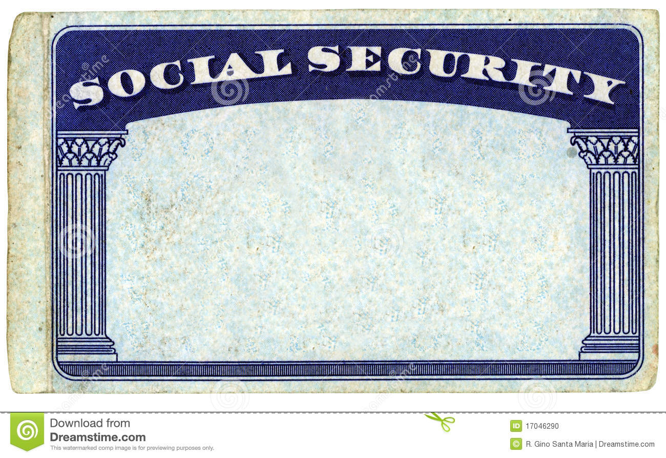 Blank American Social Security Card Stock Photo - Image Of Intended For Blank Social Security Card Template Download