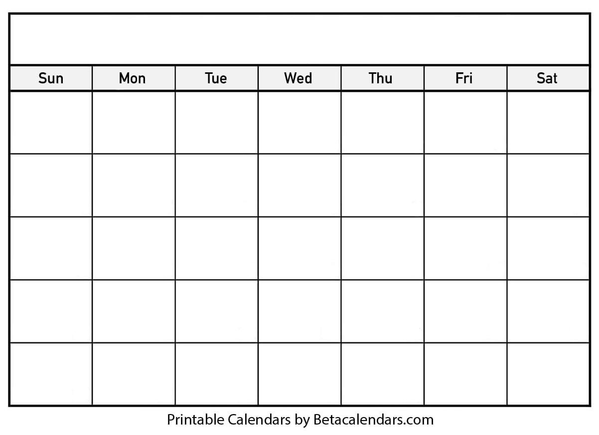 Blank Calendar - Beta Calendars Throughout Blank Calender Template