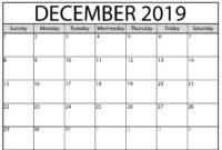 Blank Calendar December 2019 : For Exam Time Status | Free for Blank Calendar Template For Kids