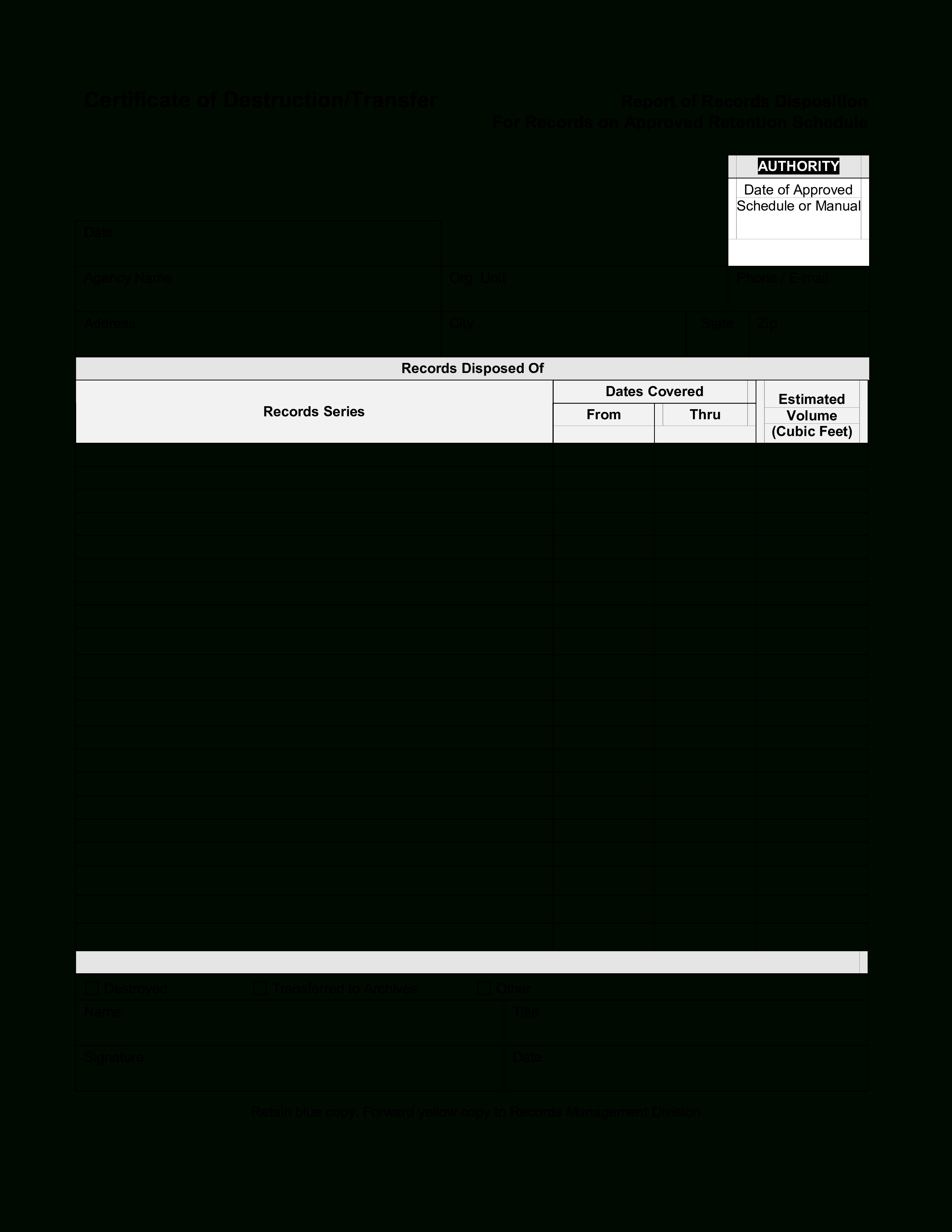 Blank Certificate Of Destruction   Templates At Pertaining To Free Certificate Of Destruction Template
