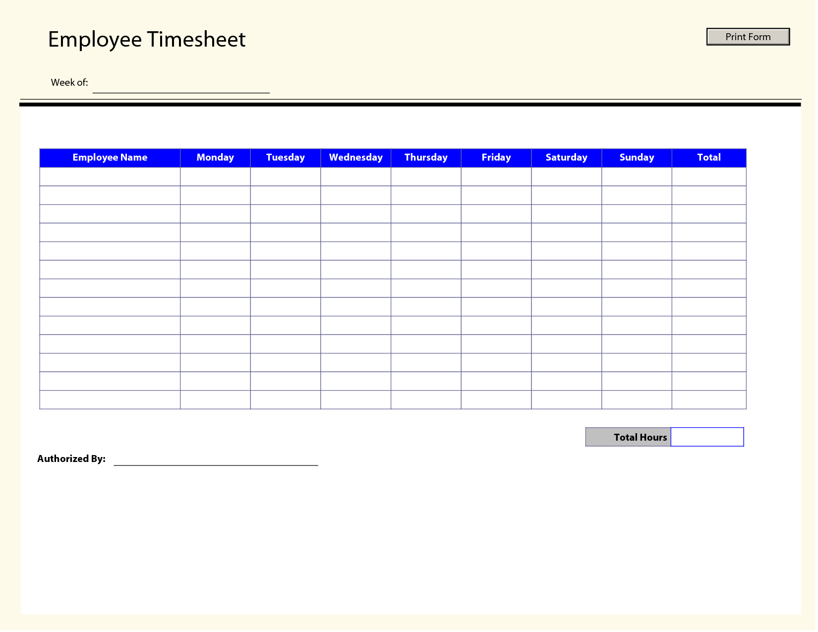 Blank Employee Timesheet Template | Management Templates Inside Weekly Time Card Template Free