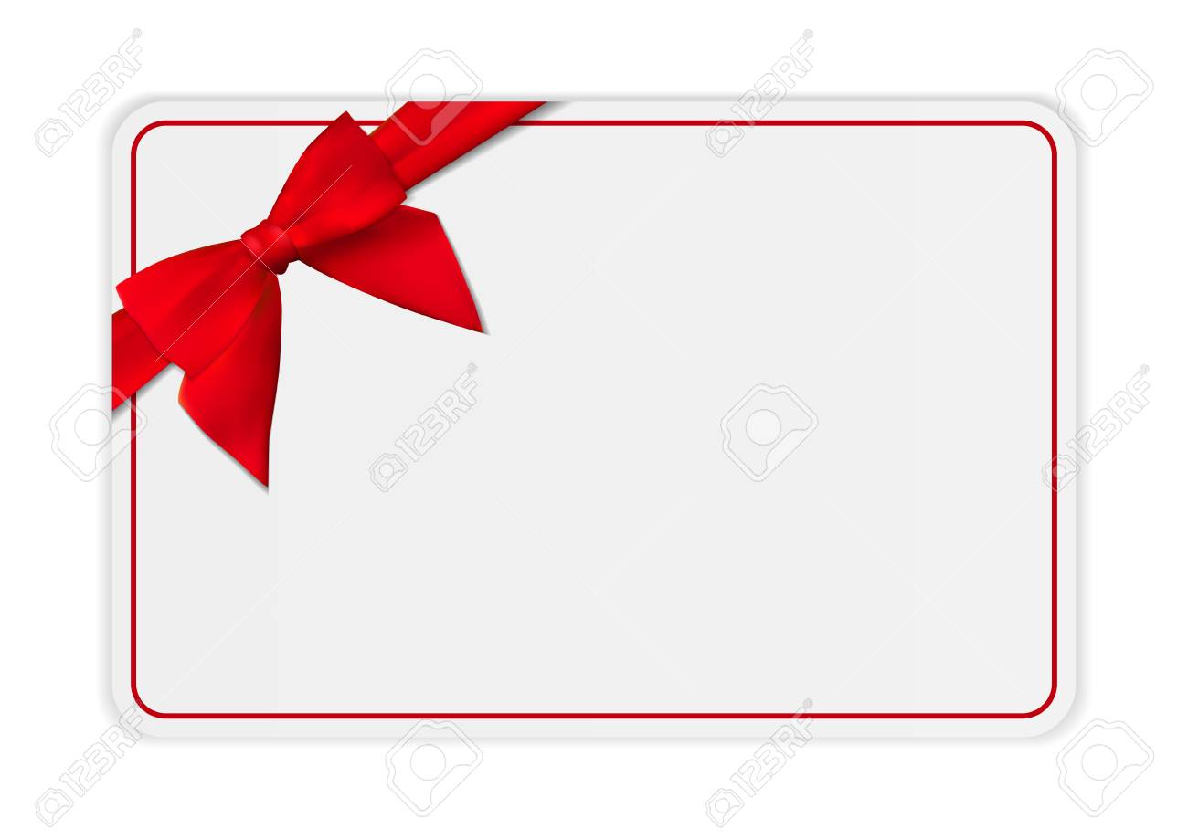 Blank Gift Card Template With Bow And Ribbon. Vector Illustration.. Within Present Card Template